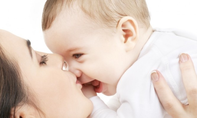 picture of happy mother with baby over white