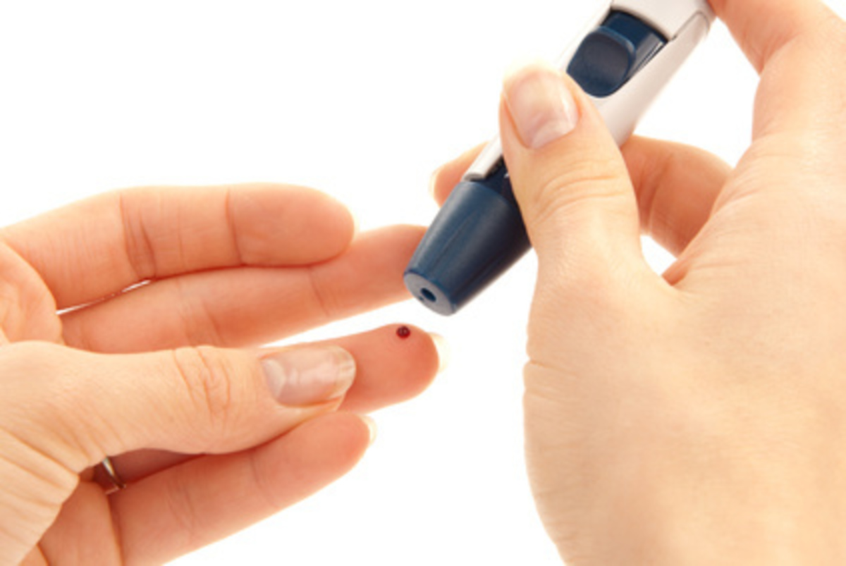 Lancet in hand prick finger for blood glucose level