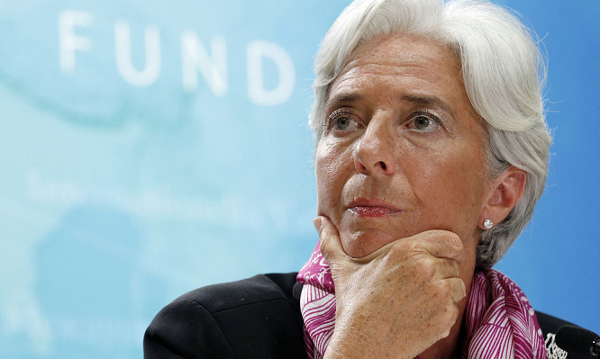 IMF managing director Christine Lagarde holds a news briefing at the International Monetary Fund headquarters in Washington