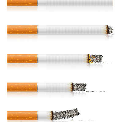 group of different stages of smoking a sigarette