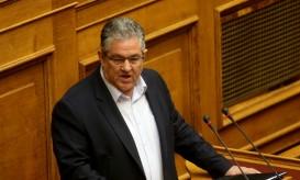Ο γενικός γραμματέας του ΚΚΕ Δημήτρης Κουτσούμπας μιλά σε συνεδρίαση στην ολομέλεια της Βουλής , Κυριακή 8 Μαΐου 2016. Συνεχίζεται και ολοκληρώνεται στην ολομέλεια της Βουλής η συζήτηση και η ονομαστική ψηφοφορία για το ασφαλιστικό και φορολογικό νομοσχέδιο. ΑΠΕ-ΜΠΕ/ΑΠΕ-ΜΠΕ/Παντελής Σαίτας