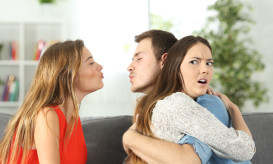 Girlfriend discovering that her boyfriend is cheating with her best friend at home