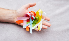colorful cancer awareness ribbon on bright background