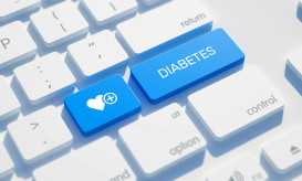 Diabetes Icon Concept on the Blue Keyboard Button