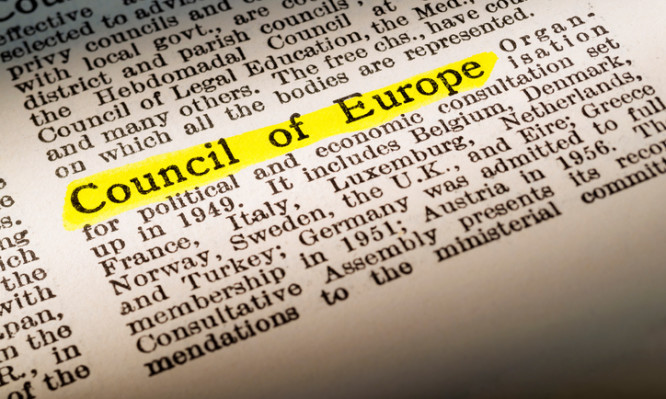 Council of Europe - dictionary definition highlighted with yellow marker