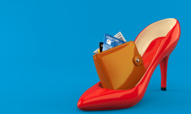 Red heel with wallet isolated on blue background